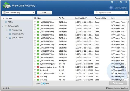 Wise Data Recovery 5.1.5 Screenshot 2