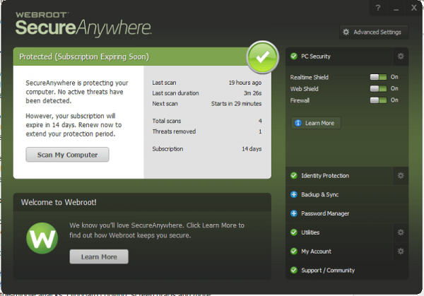 Webroot SecureAnywhere Antivirus 2019 Screenshot 1